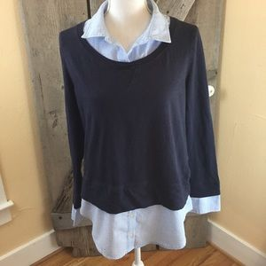 Tommy Hilfiger Layered Blue  Blouse  Size Large